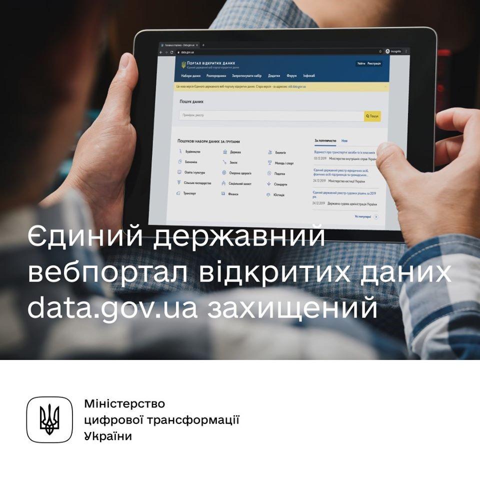 Єдиний державний веб-портал відкритих даних data.gov.ua захищений